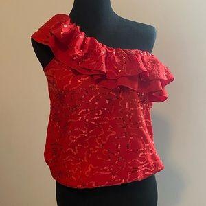 Red Sequin one shoulder top